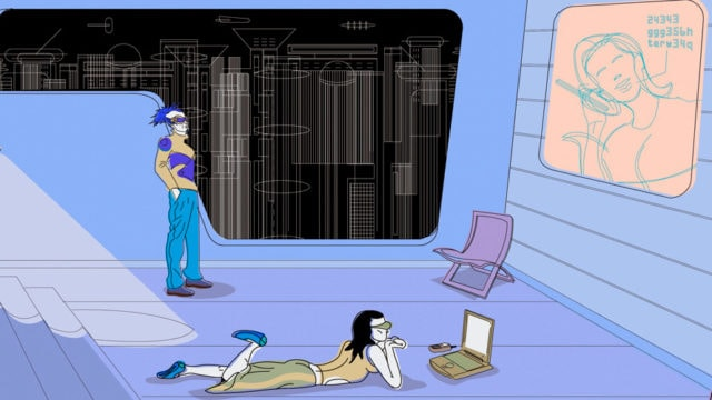 Two futuristic watching TV, one standing looking at a big screen, and the other laying down on the floor looking at a laptop
