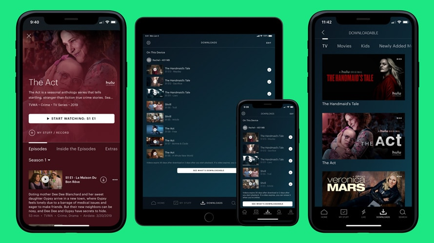 The Hulu app open on two smartphones and one tablet