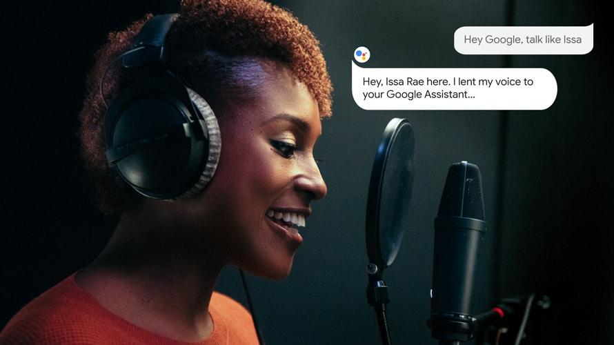 Issa Rae talking into a microphone with headphones on and Google chat bubbles on the side for Google Assistant