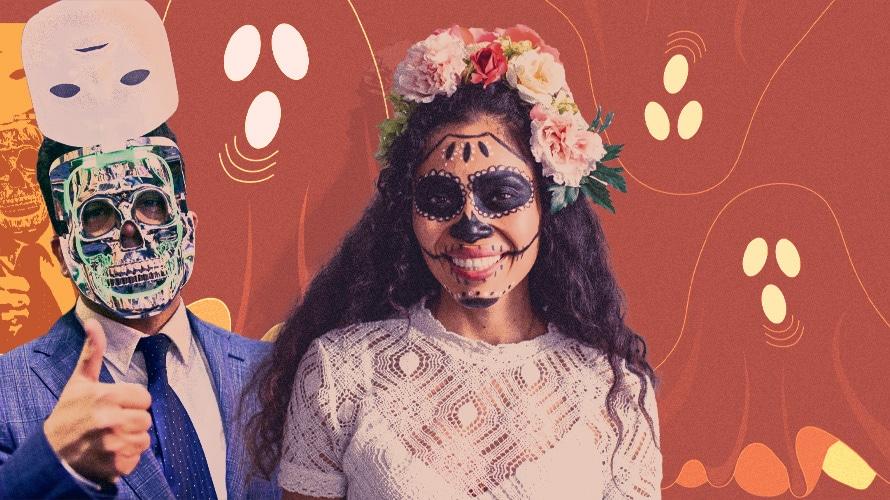 People with Halloween masks and Dia de Muertos makeup