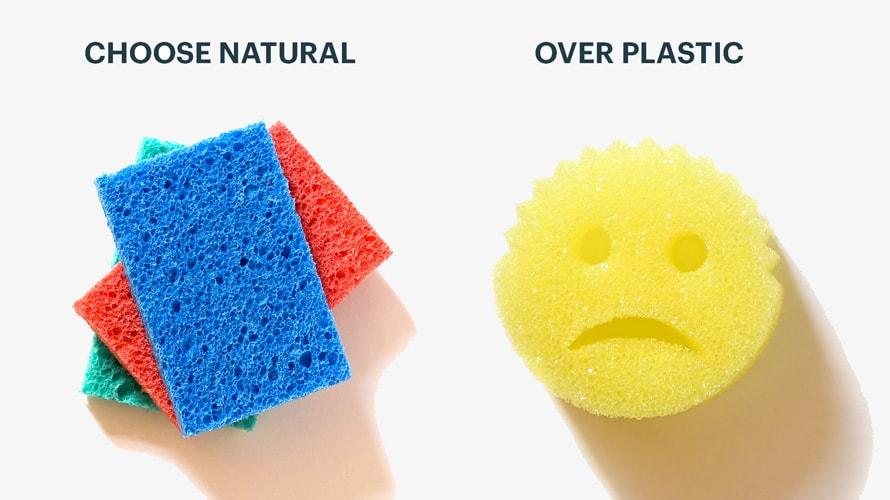 natural sponge vs a plastic sponge
