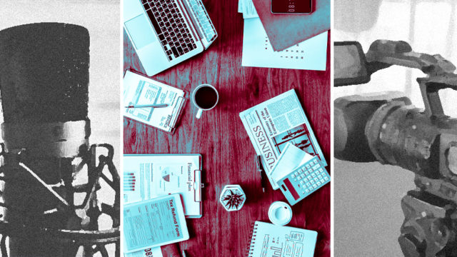 Three different images: A black and white picture of a microphone, a desk with notes, coffee and a laptop and a black and white photo of a camera