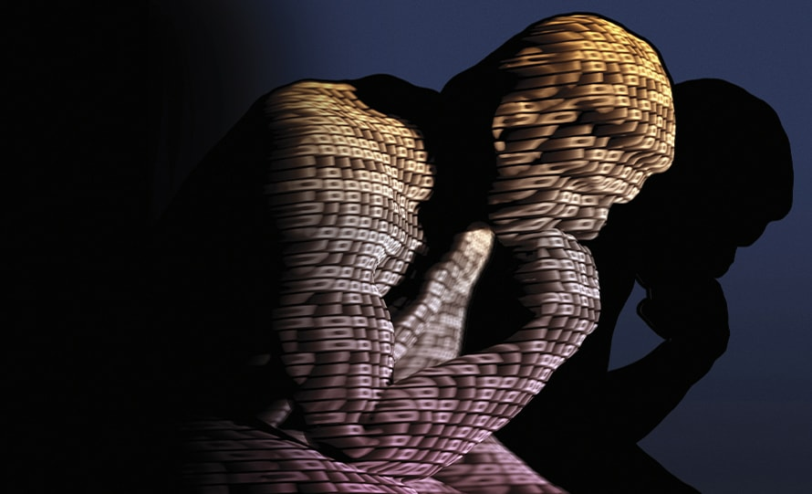 The thinker with data projection