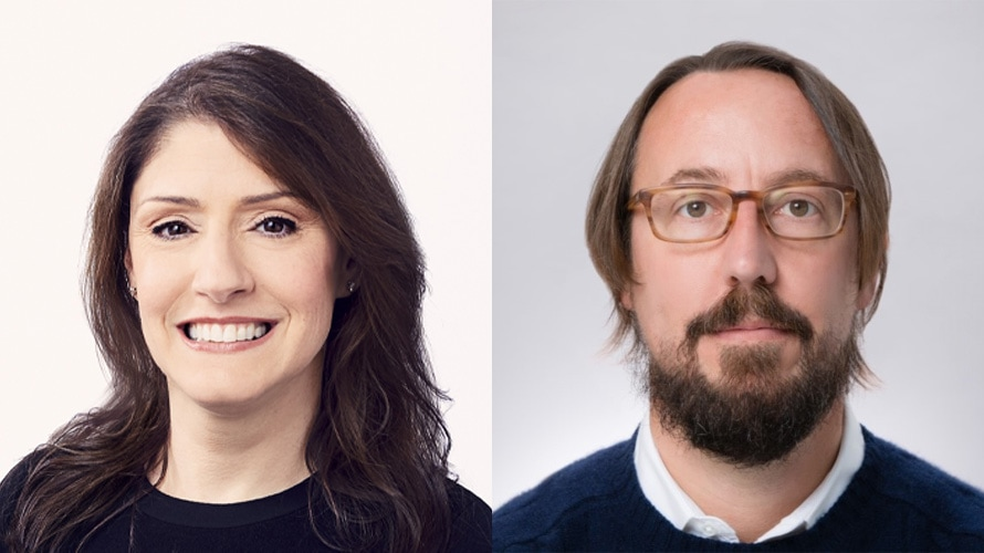 Side by side headshot of Christina Miller and Michael Ouweleen