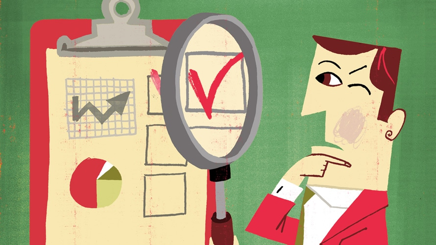 Illustration of a business man looking at a clipboard with graphs and checklists through a magnifying glass