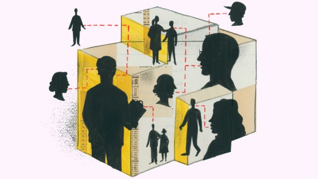 Box with silhouettes of people interacting