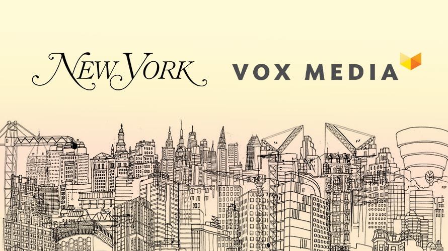 NewYork Media and Vox Media logo on top of New York building outlines