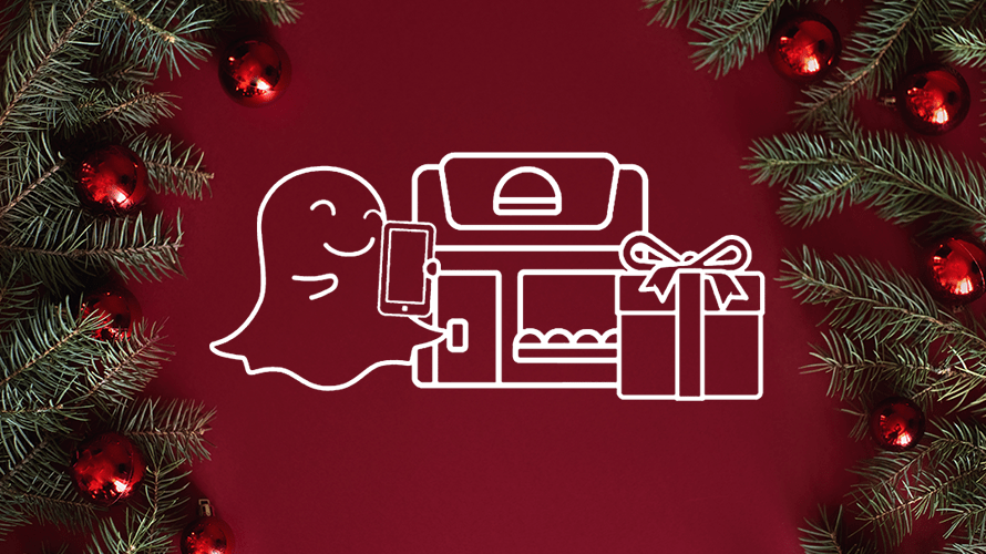 snapchat ghost smiling next to boxes of gifts