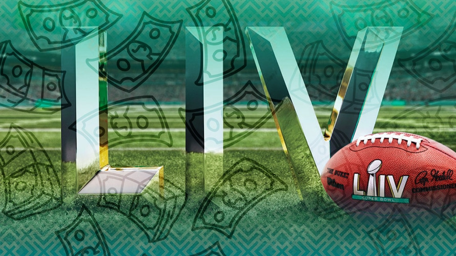 Superbowl LIV logo and football on grass with cash illustrations falling