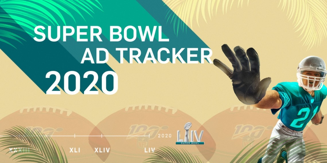 "A football player with his hand out next to text that says ""Super Bowl Ad Tracker 2020"""