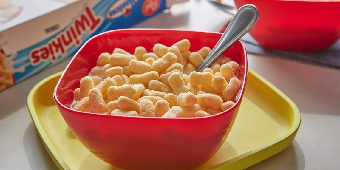 Twinkies Cereal is shown in a red bowl