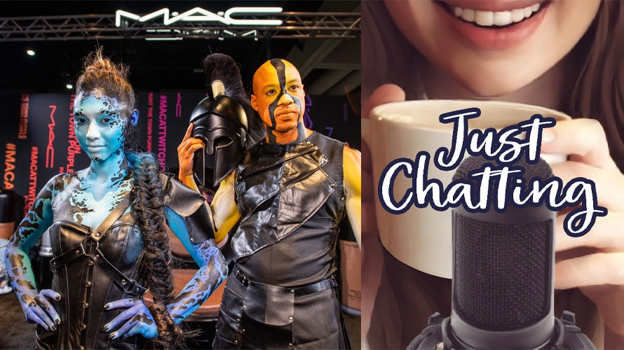 Side-by-side image of cosplayers at MAC booth at TwitchCon and Just Chatting logo