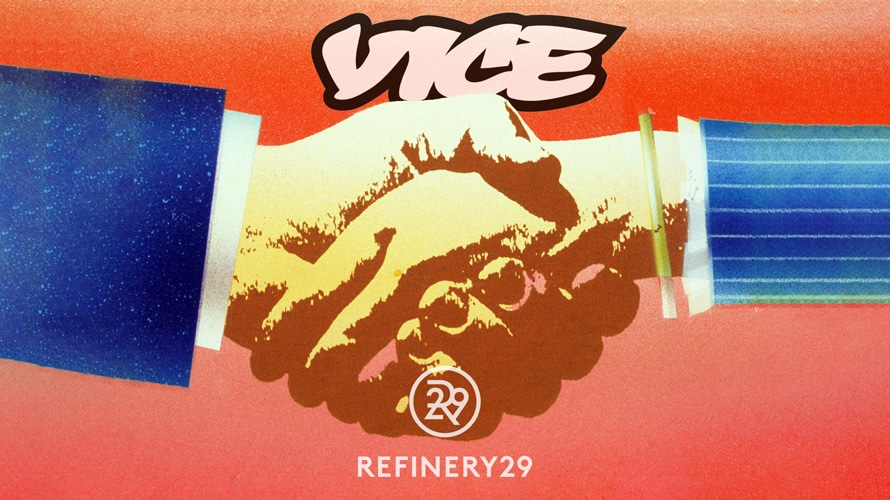 handshake with Vice and Refinery29 logos