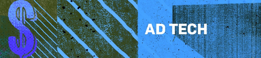 a blue and green background with a dollar sign that says ad tech