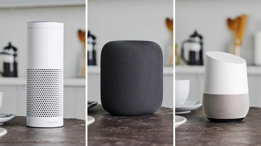 Triptych product shots of Amazon Echo, Apple HomePod, and Google Home