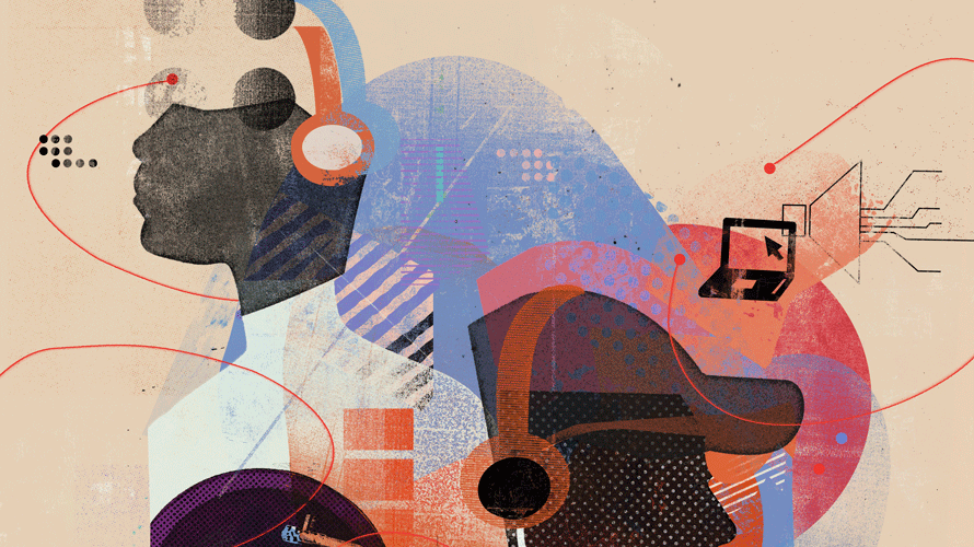 illustration of two people with headphones on