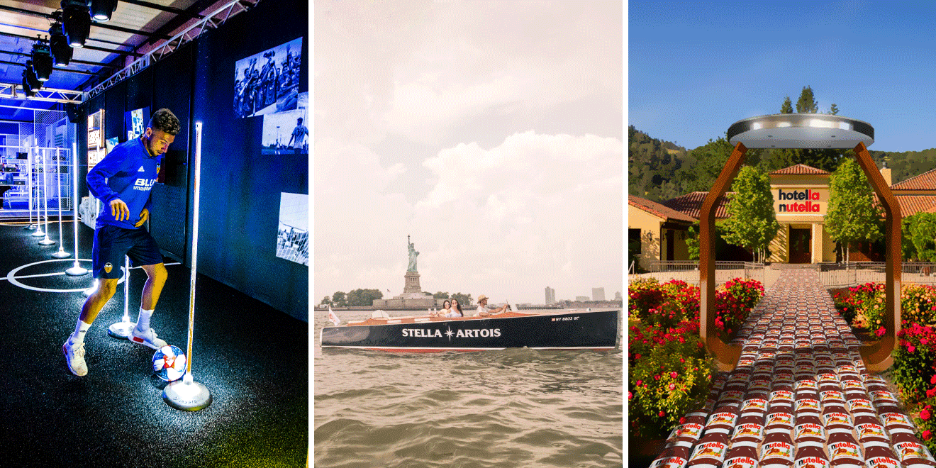 Three images that include a person with a soccer ball, three people on a Stella Artois boat in front of the Statue of Liberty and an exterior shot of Hotella Nutella