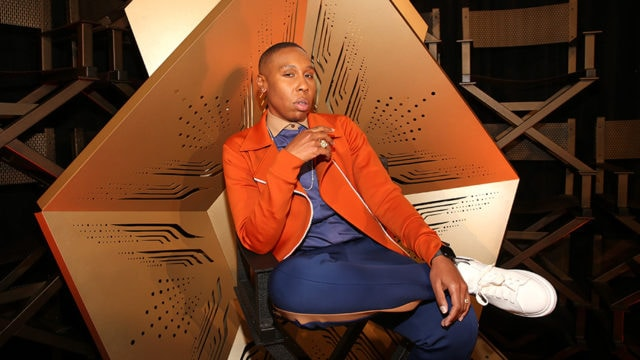 lena waithe sitting in a sort of chair thing