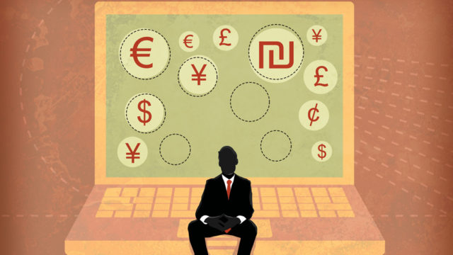 Illustration of a businessman sitting on laptop screen showing global currency symbols