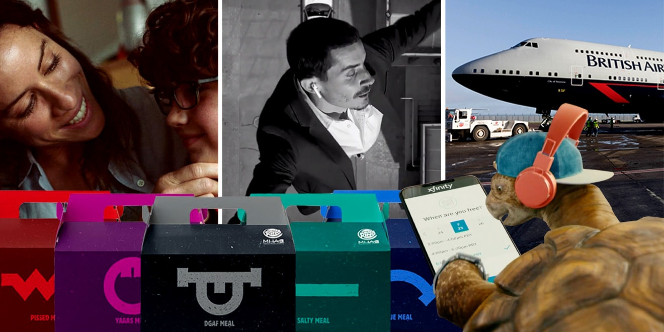 Stills from ads by Gap, Apple, British Airways, Burger King and Comcast