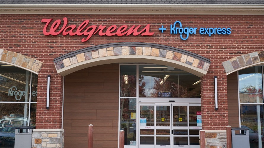 Walgreens and Kroger store signage exterior