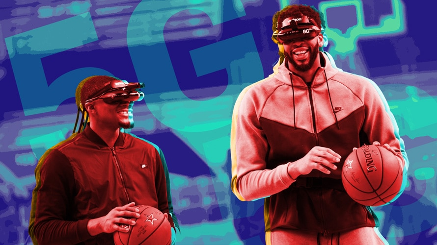 Two basketball players with 5G headsets