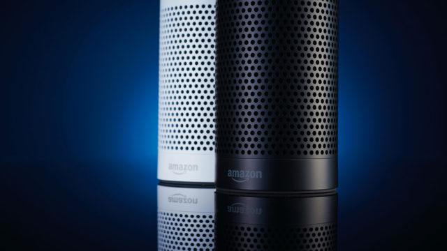 A pair of Amazon Echo multimedia smart speakers