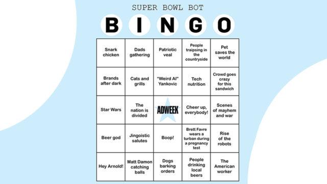 A bingo card that says 'Super Bowl Bot Bingo'