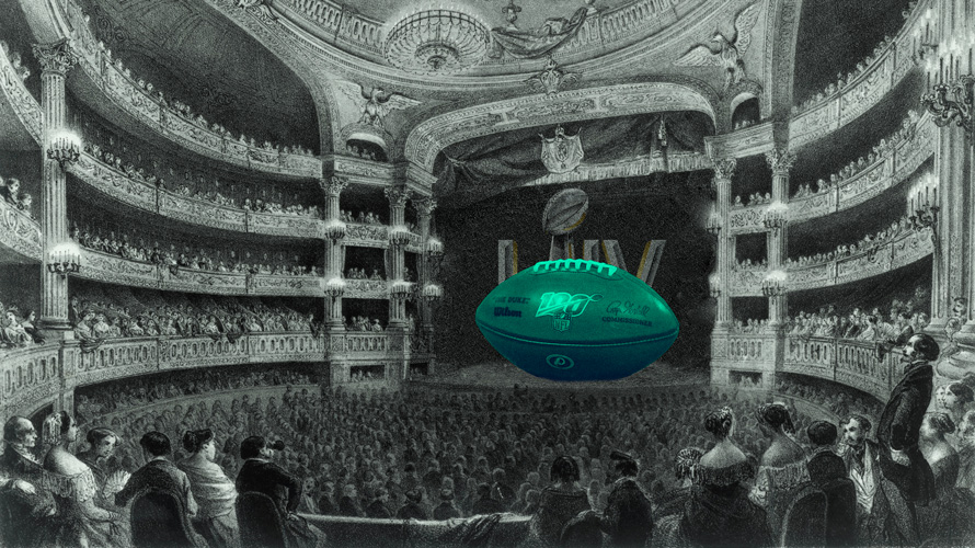 a green football sitting on a black and white stage in an operahouse