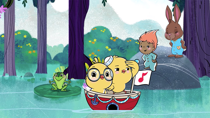 two cartoon characters in a little boat