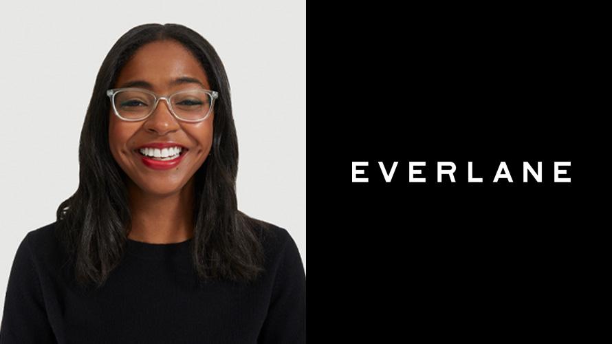 Headshot of Franchesca Hashim and Everlane logo