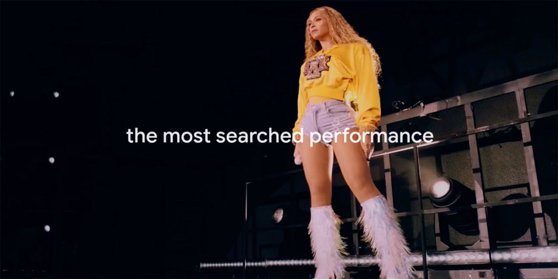 Beyoncé is shown performing at Coachella 2018 with the words The Most Searched Performance