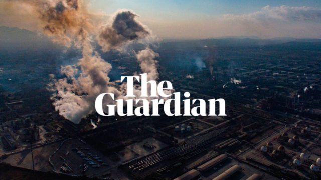 the guardian logo over an oil refinery