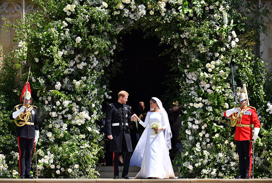 harry and meghan in their wedding outfits