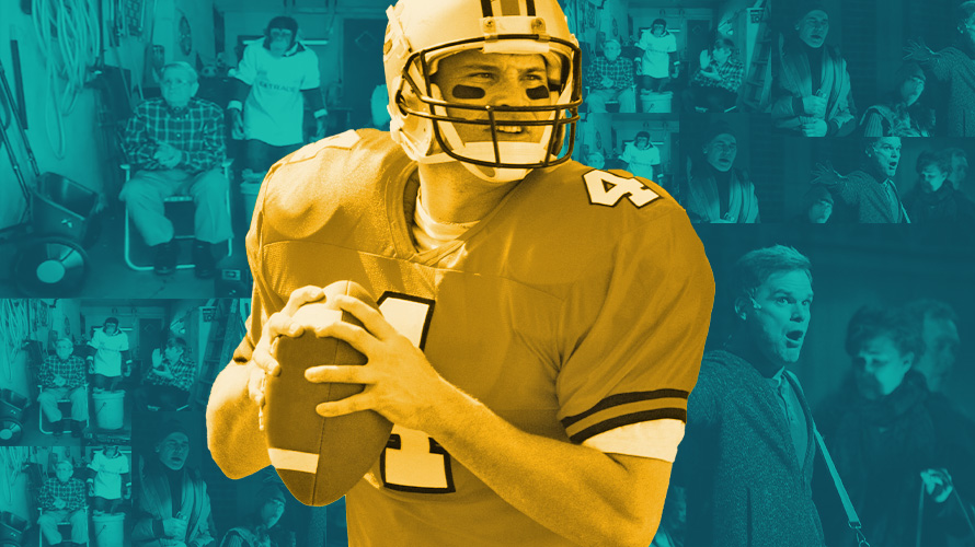 a golden football player getting ready to throw the football with a blue background