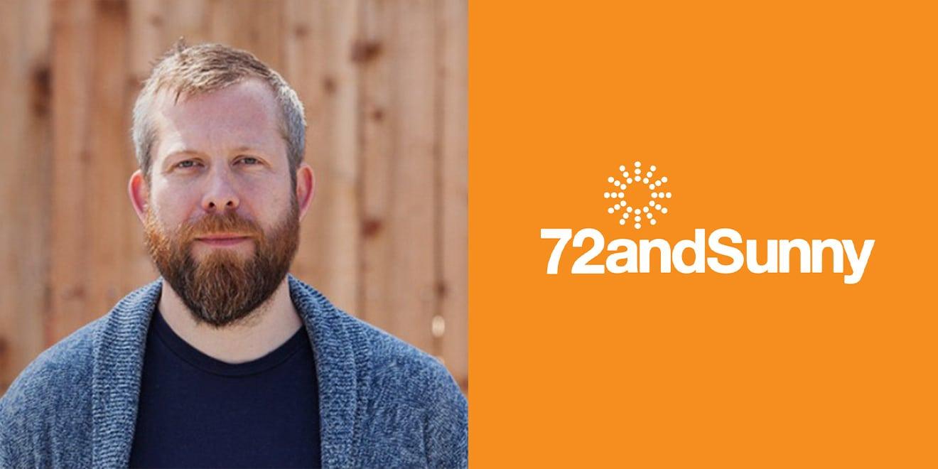 Nic Owens and 72andSunny white logo on orange background