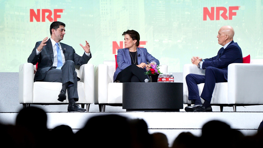 paul ryan, left, on stage at the national retail federation