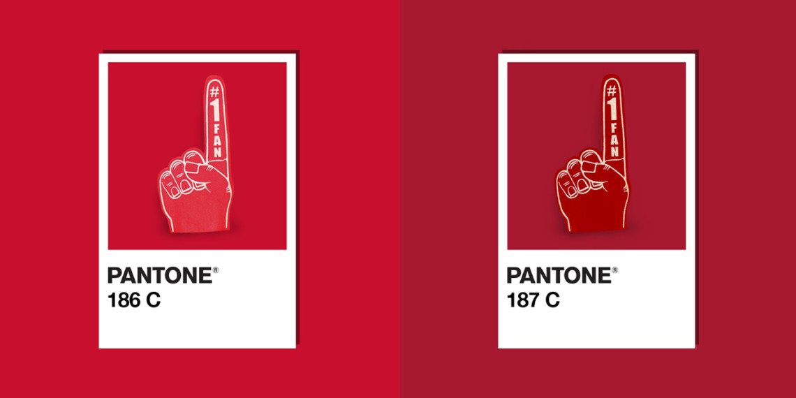 The red colors of the Kansas City Chiefs and San Francisco 49ers are next to each other in Pantone