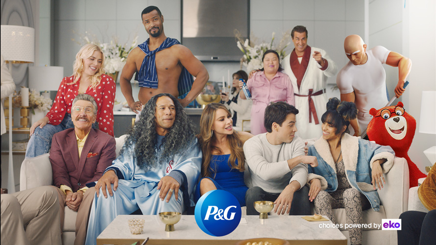 Multiple P&G actors and mascots in same room