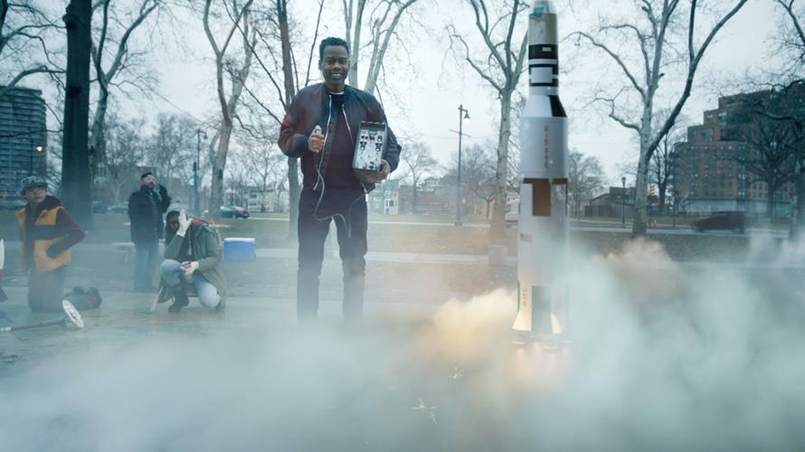 Chris Rock brought a big rocket to Facebook