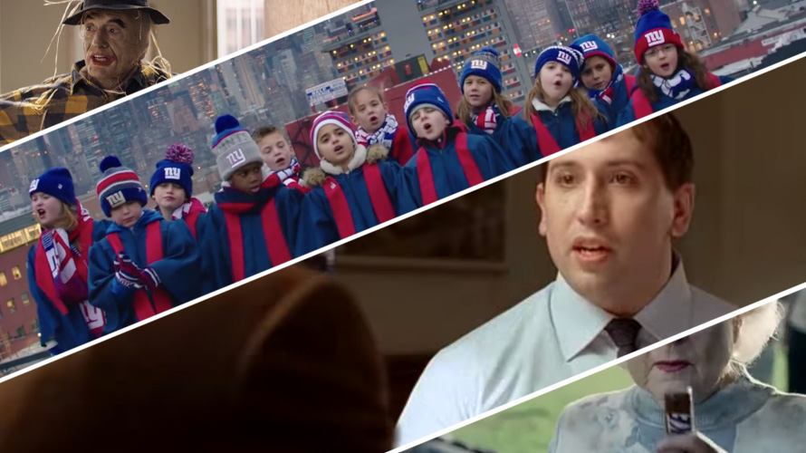four screengrabs from different ads, with a scarecrow, confused man, choir of kids