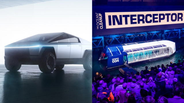 Side by side image of the cybertruck and the interceptor