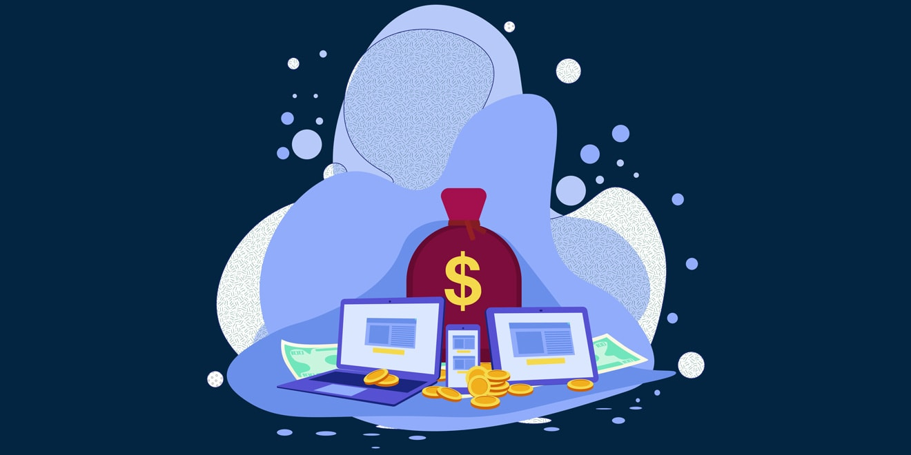 Illustration of money and computers