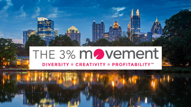 the 3% movement logo with atlanta skyline in the background