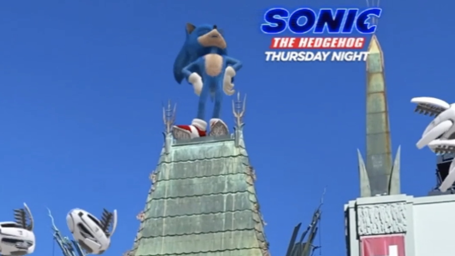 """An image of Sonic the Hedgehog on top of a house with text on the right that says, """"Sonic the Hedgehog Thursday Night"""""""