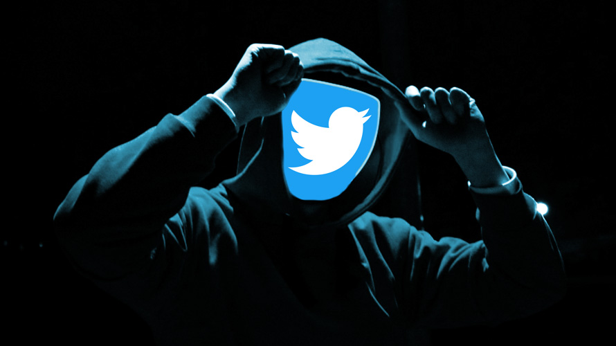 Twitter icon in place of a hooded person