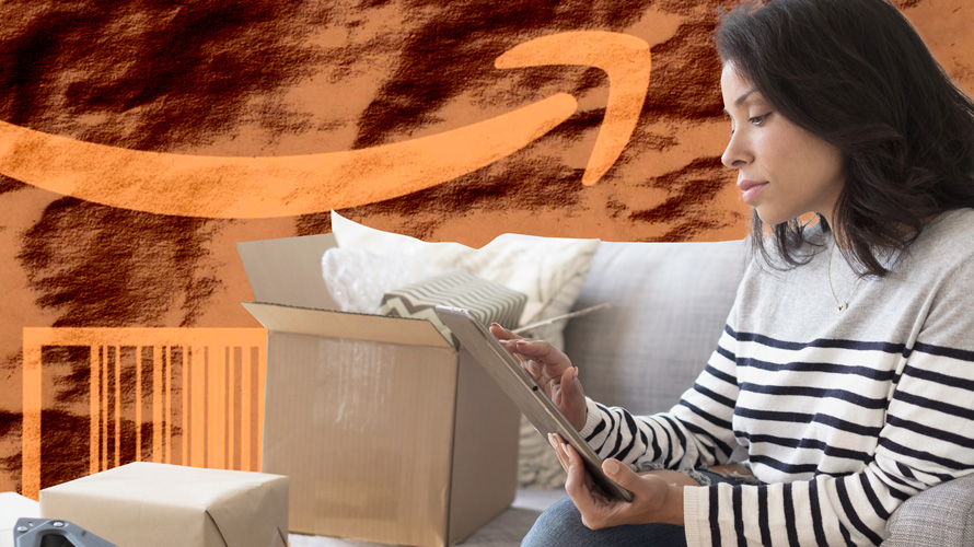 a woman opening a shipping box