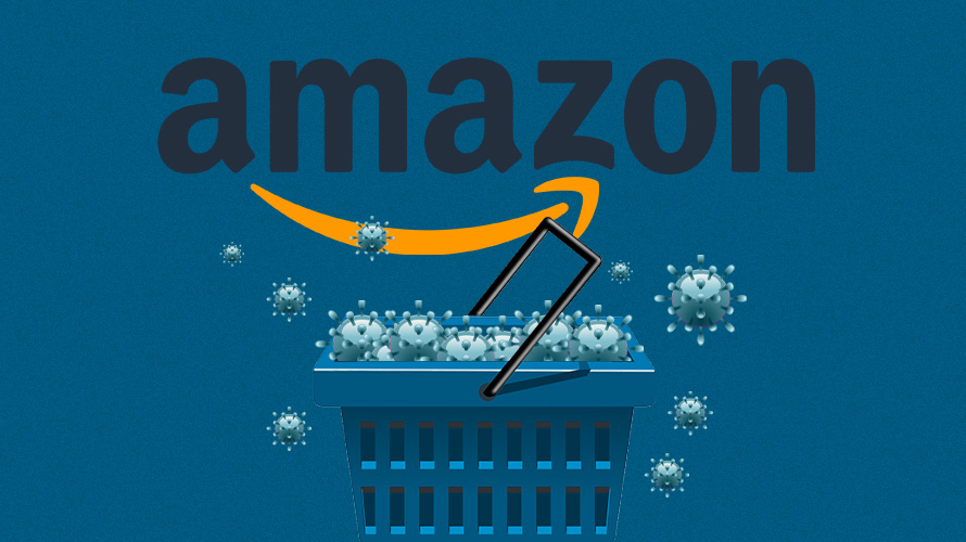 coronavirus spilling out of shopping basket under Amazon logo