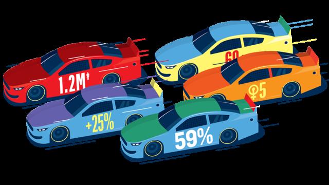 illustration of cars racing