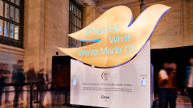 Dove built the installation with materials including aluminum and wood. It was powered by an internal lithium ion battery.
